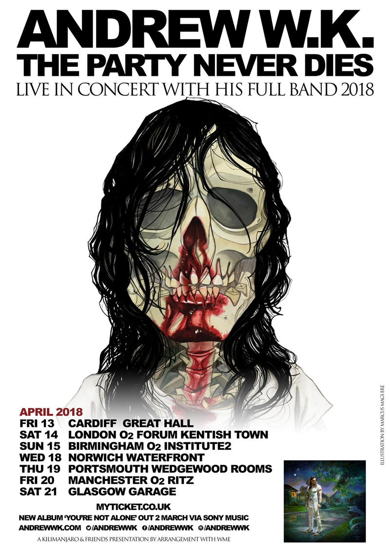 Andrew W.K. UK Tour 2018