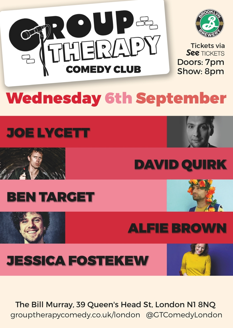 Group Therapy UK London comedy show September 2017