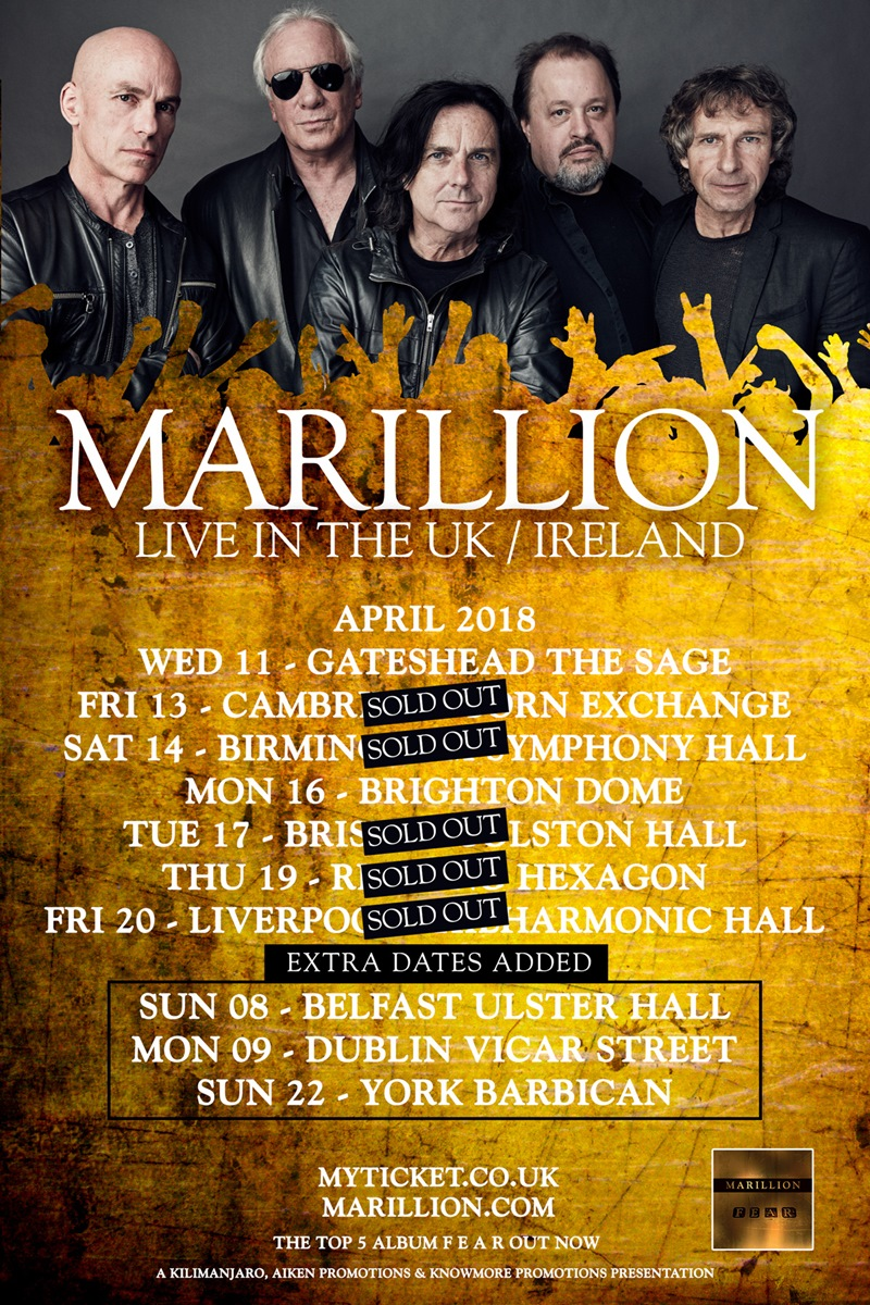 Marillion UK Tour 2018 extra dates