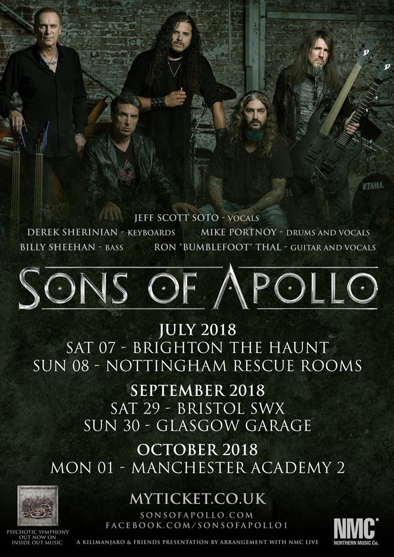 Sons Of Apollo UK Tour 2018