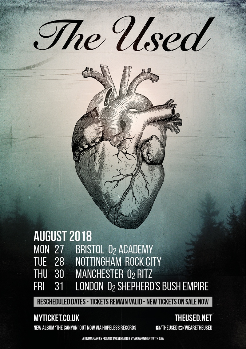 The Used UK Tour 2018