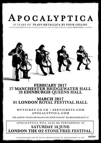 Apocalyptica Plays 'Metallica by Four Cellos' UK Tour 2016
