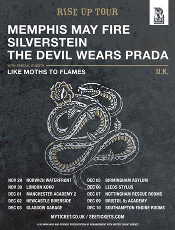 Memphis May Fire + Silverstein + The Devil Wears Prada UK Tour 2016